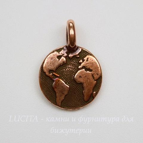 """Подвеска круглая TierraCast """"Земля"""" (цвет-античная медь) 17х12 мм"""