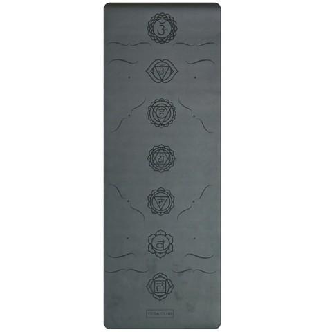 Каучуковый йога коврик Chakras Black c разметкой 185*68*4,5см