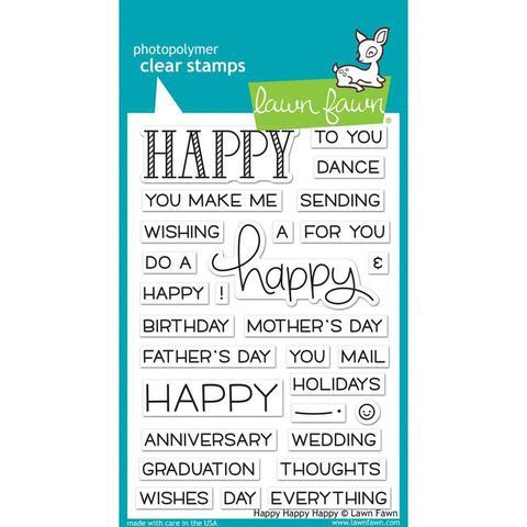 Набор штампов Lawn Fawn Clear Stamps 10х15см - Happy Happy Happy