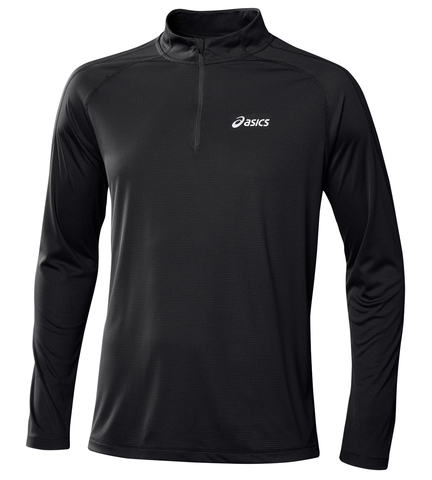 Рубашка для бега мужская Asics LS 1/2 Zip Top black