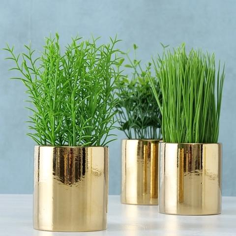 Искуственное растение в золотом кашпо в ассортименте
