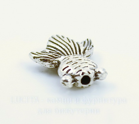 """Бусина металлическая """"Рыбка"""" 15х11 мм (цвет - античное серебро)"""