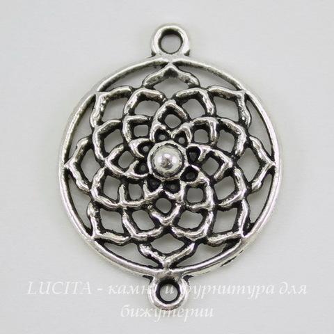 "Коннектор ""Астра"" (1-1) 28х21 мм (цвет - античное серебро)"