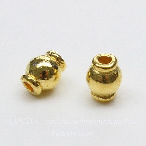 """Бусина металлическая """"Фонарик"""" 6х5 мм (цвет - золото), 10 штук"""