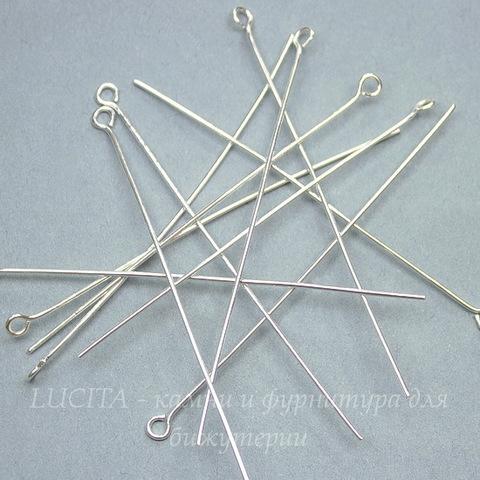 Комплект штифтов с петлей (цвет - серебро) 60х0,7 мм, примерно 100 штук