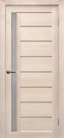 Дверь Эколайт Дорс Вертикаль, стекло белое матовое, цвет лиственница кремовая, остекленная
