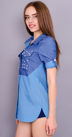 Джаз. Стильна сорочка для жінок. Блакитний.