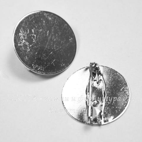 Основа для броши с круглой площадкой 20 мм (цвет - платина)