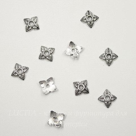 """Шапочка для бусины """"4 листика"""" 6 мм (цвет - античное серебро), 10 штук"""