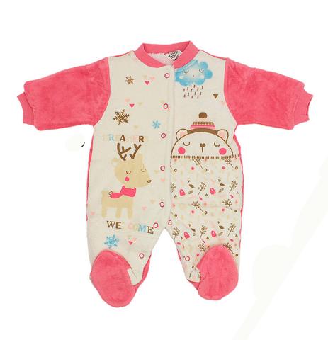 ZINA Комбинезон для малышей велюровый внутри евромахра розовый