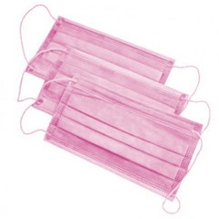Маска 3-слойная на резинках (Спанбонд, розовый, 100 шт/упк)