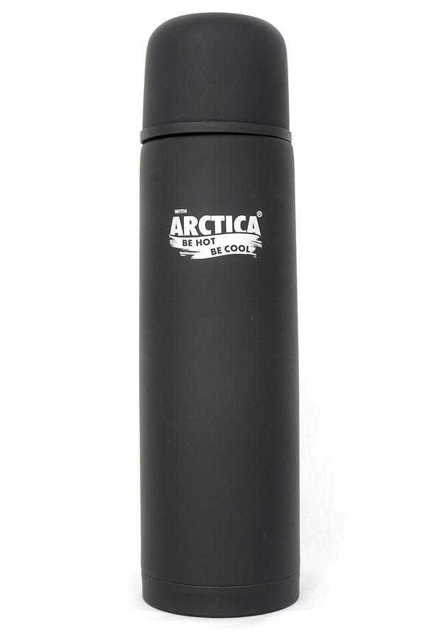 Термос Арктика (1 л.) с узким горлом классический, черный, резиновое покрытие