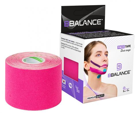 Кинезио тейп для лица BB TAPE™ 5см*5м хлопок розовый, BBalance