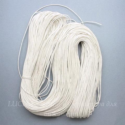 Вощеный шнур, 1 мм, цвет - белый, примерно 80 м