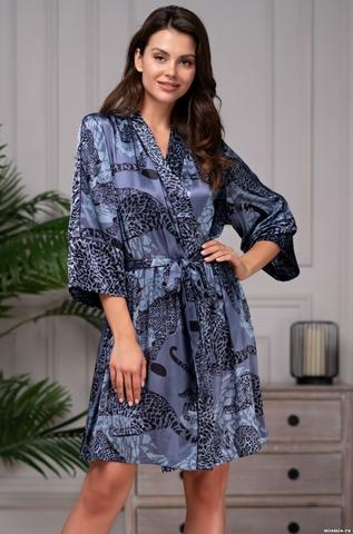 Халат женский шелковый Mia-Amore AMAZONKA АМАЗОНКА 8663 синий