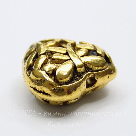 """Бусина металлическая """"Сердце в стрекозах"""" 15х15 мм (цвет - античное золото)"""
