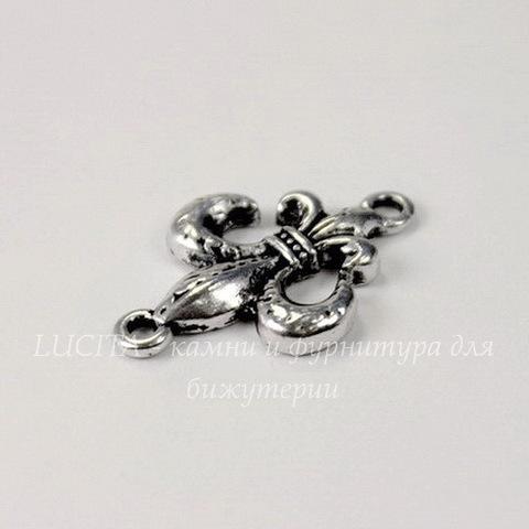 "Коннектор ""Fleur de Lys"" (1-1) 23х15 мм (цвет - античное серебро)"