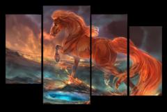 """Модульная картина """"Лошадь с огненной гривой"""""""
