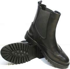 Черные осенние ботинки женские Jina 7113 Leather Black