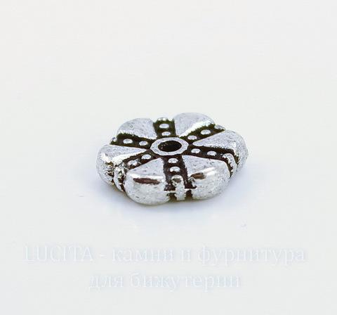 """Бусина металлическая - спейсер """"Цветок"""" 11х3 мм (цвет - античное серебро)"""