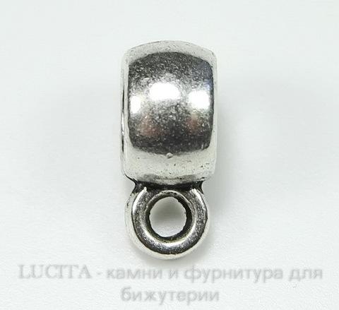 Бейл гладкий 9х4 мм (цвет - античное серебро)