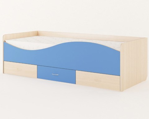 Кровать ЛОМБАРДИЯ дуб беленый / синий