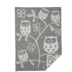 Одеяло/плед, Совы, KLIPPAN, 65 х 90 см, эко-шерсть, серый