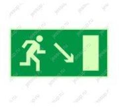 """Фотолюминесцентный знак Е07 """"Направление к эвакуационному выходу направо вниз"""""""