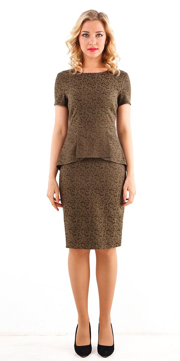 Платье З247-155 - Роскошное коктейльное платье приталенного силуэта. Украшено  асимметричной  баской. которая подчеркнет линию талии. Выполнено из фактурной жаккардовой ткани. Прекрасно подойдет для любого торжественного мероприятия.