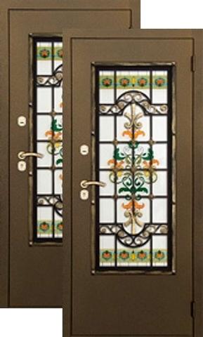 Дверь входная Аргус Аргус Комплимент, 2 замка, 2 мм  металл, (золото антик + стеклопакет витражный с тонировкой Комплимент+золото антик + стеклопакет витражный с тонировкой Комплимент)