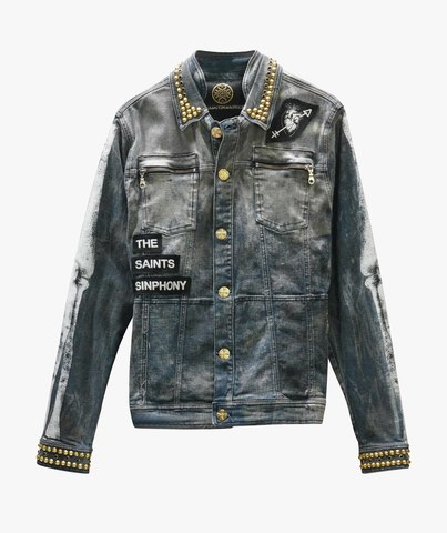 Куртка джинсовая The Saints Sinphony BONES JACKET DARK BLUE AND GOLD
