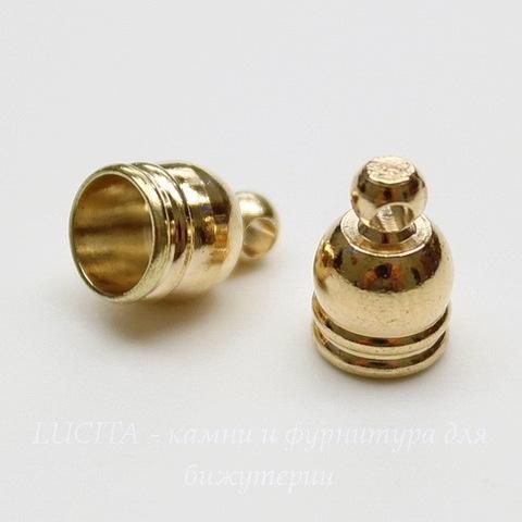 Концевик для шнура 5 мм (цвет - золото) 9х6 мм, 2 штуки
