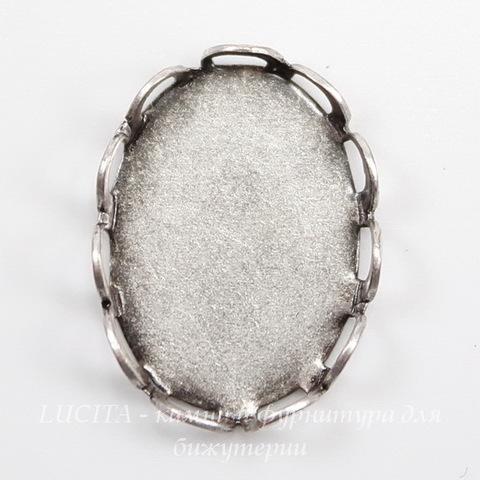Сеттинг - основа для камеи или кабошона 14х10 мм (оксид серебра)