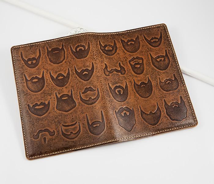 BY14-02-02 Прикольная обложка на паспорт с изображением бород, тиснение фото 02