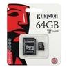 Карта памяти Kingston MicroSD (Class 10) 64gb + адаптер