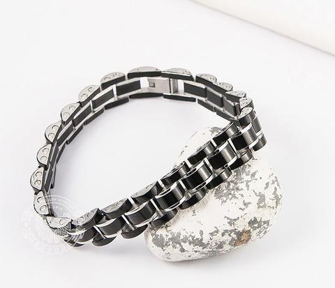 Стильный мужской браслет черного цвета из стали, «Spikes» (21 см)