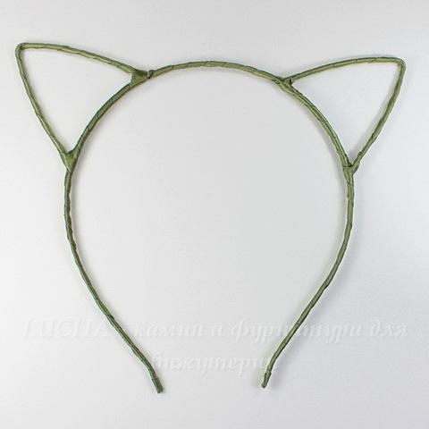 """Ободок для волос 4 мм """"Ушки"""" с лентой (цвет - оливковый)"""