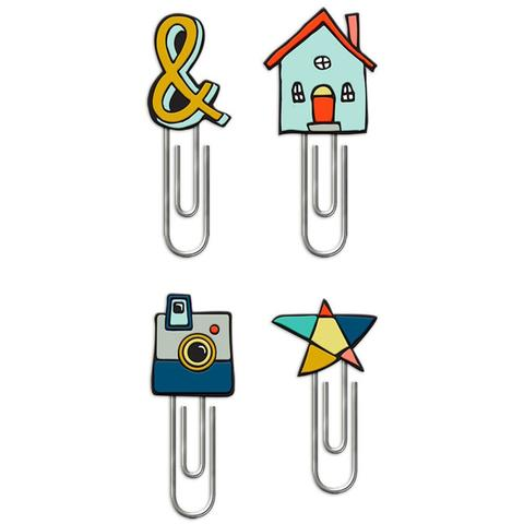 Закладки-скрепки с декором  Family & Co. Silicone Topper Paper Clips 4/Pkg House, &, Camera, Star -4 шт