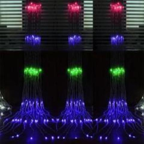 Светодиодная гирлянда водопад разноцветный цвет