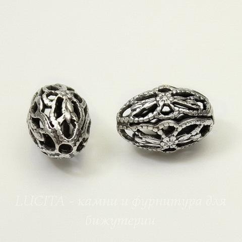 Винтажный элемент - бусина овальная филигрань 12х8 мм (оксид серебра)
