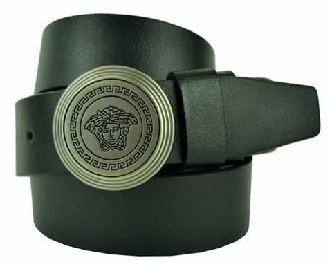 Ремень мужской с бляхой для джинс чёрный Versace (копия) 40brend-KZ-016