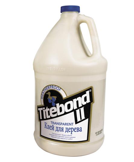 Клей влагостойкий прозрачный для дерева Titebond II Transparent Premium Wood Glue 3,785л