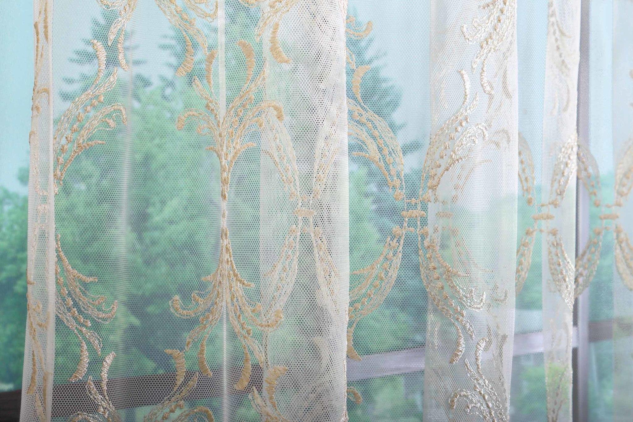 Микросетка с вышивкой Милана-2 (светлое золото)