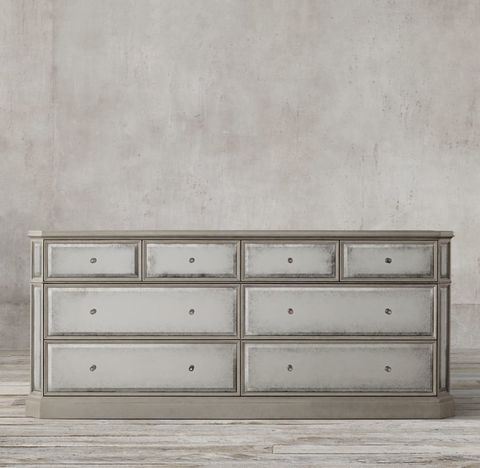 1930s French Mirrored 8-drawer Low Wide Chest