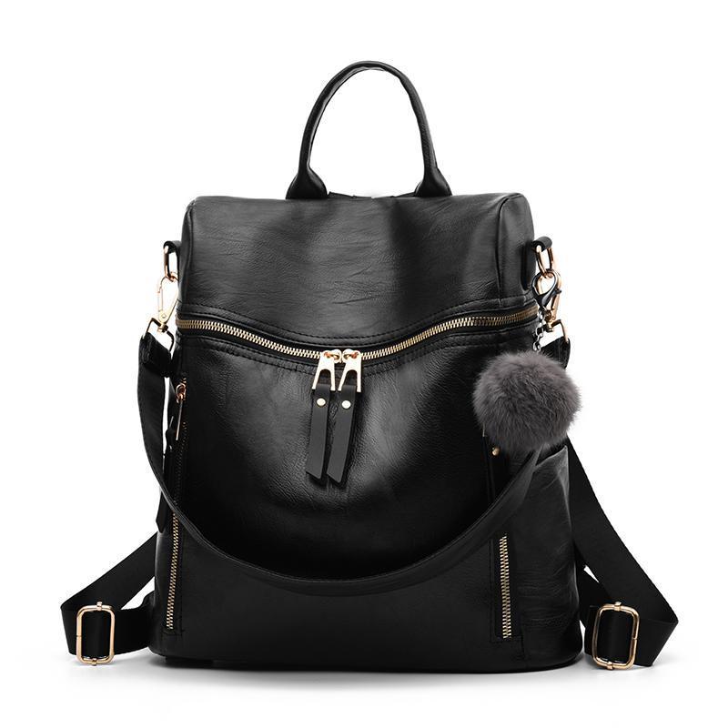Женский средний рюкзак 35х32х15 см чёрный 4176-1 (без брелка)