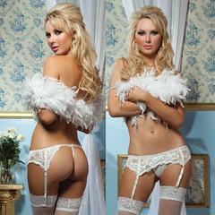 Эротический белый кружевной пояс с подвязками для чулок Seventil