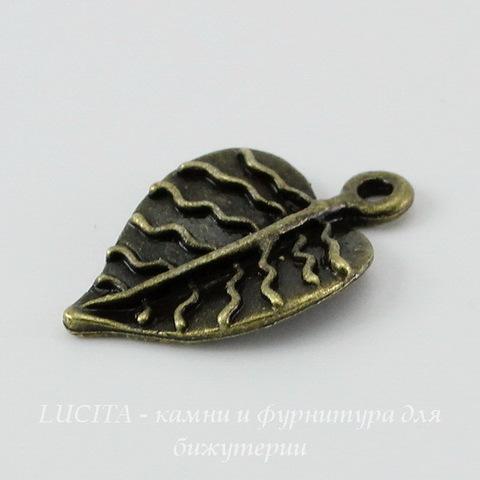 "Подвеска ""Лист"" (цвет - античная бронза) 21х13 мм"