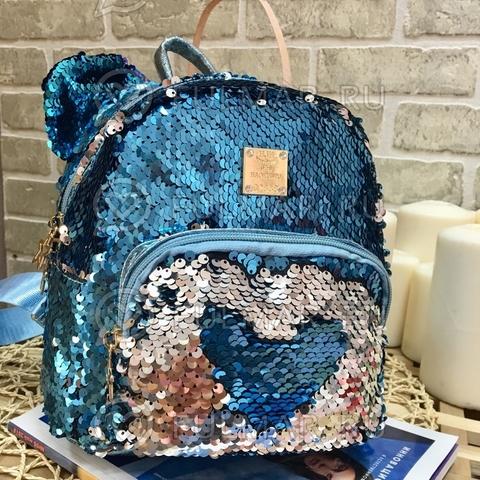 Рюкзак голубой с ушами с пайетками меняющий цвет Голубой-Серебристый Звезда