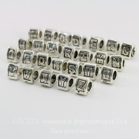 """Комплект металлических бусин для пандоры """"Алфавит"""" (цвет - античное серебро) 9х8 мм, 26 штук"""