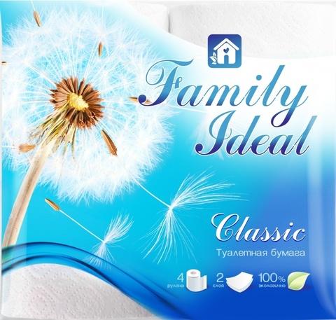 Туалетная бумага белая Семейный идеал (4 рул)